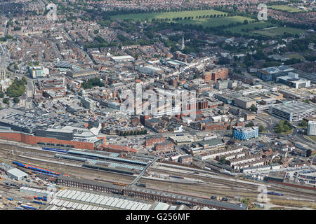 An aerial view of the town centre area of Doncaster, South Yorkshire - Stock Photo