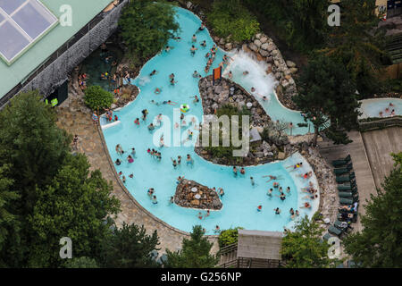 An aerial view of an outdoor pool at a leisure resort - Stock Photo