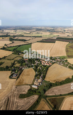 An aerial view of the hamlet of Braceborough, South Lincolnshire - Stock Photo