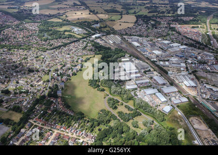 An aerial view of the Cobbswood Industrial Estate, Ashford, Kent - Stock Photo
