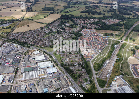 An aerial view of Godinton, an area of Ashford, Kent - Stock Photo