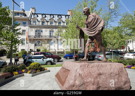 Mahatma Gandhi statue in front of the Embassy of India - Washington, DC USA - Stock Photo