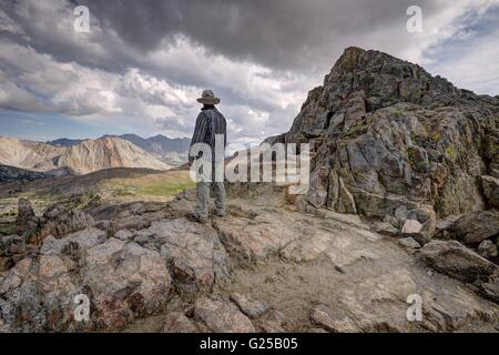 Rear view of man standing on mountain, Kings Canyon National Park, California, America, USA - Stock Photo