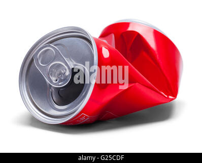 Empty Smashed Soda Pop Can Isolated on White Background. - Stock Photo