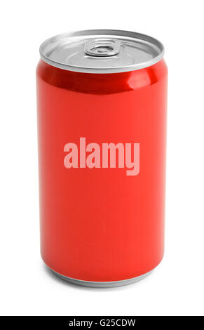 Red Soda Can With Copy Space Isolated on White Background. - Stock Photo