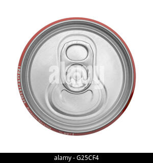 Top View Of Closed Soda Can Isolated on White Background. - Stock Photo