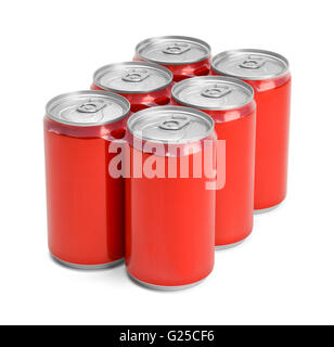 Six Pack of Red Soda Cans with Copy Space Isolated on White Background. - Stock Photo