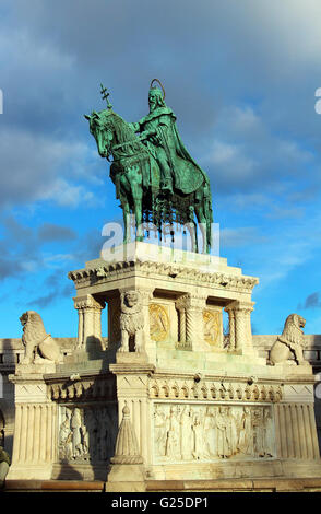 Stephen I monument at Fisherman's Bastion in Budapest, Hungary - Stock Photo