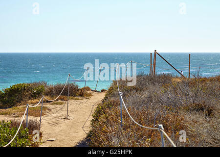 Footpath to the malibu beach - Stock Photo
