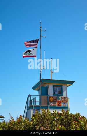 Lifeguard hut on the Malibu beach. - Stock Photo