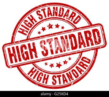 high standard red grunge round vintage rubber stamp - Stock Photo
