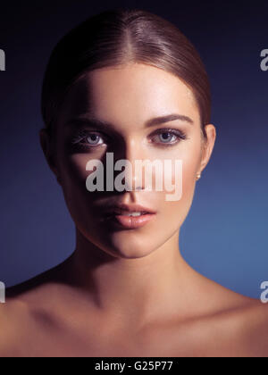 Woman with natural makeup and spotless skin - Stock Photo