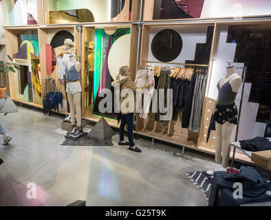 An Urban Outfitters retail store in Herald Square in New York on Tuesday, May 18, 2016. The retailer, which also - Stock Photo