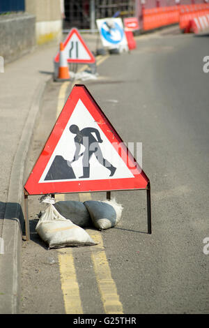 Roadworks signs in Penzance, Cornwall England UK. - Stock Photo