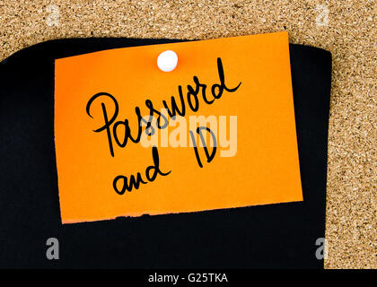 Password and ID written on orange paper note pinned on cork board with white thumbtacks, copy space available - Stock Photo