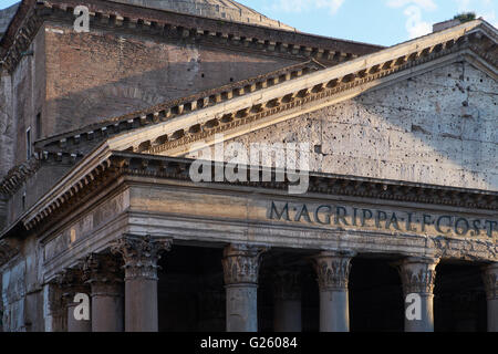 Rome Pantheon Pediment - Stock Photo