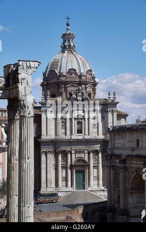 Santi Luca e Martina, a domed church in Rome, Italy, by Pietro da Cortona, 1630s and 1640s. - Stock Photo