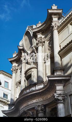 San Carlino, San Carlo alle Quattro Fontane (1638-41), Rome, Italy. By Borromini, upper storey of the curving facade - Stock Photo