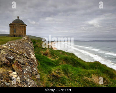 Mussenden temple and Downhill beach or strand on the Ulster Way and Causeway Coastal Route County Londonderry Northern - Stock Photo
