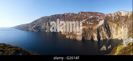 Slieve League or Sliabh Liag sea cliffs in County Donegal Ireland the tallest sea cliffs in Europe on the Wild Atlantic - Stock Photo