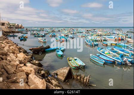 Salinas, Ecuador - September 17, 2011: Fishing boats crowded in the Bay of Santa Elena - Stock Photo
