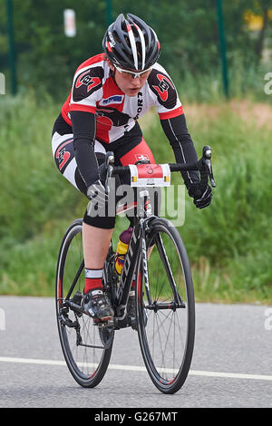 Cazis, Switzerland. May 24, 2016. Alessia Nay during the Criterium Race of the Cycling Grison Cup Series in Cazis. - Stock Photo