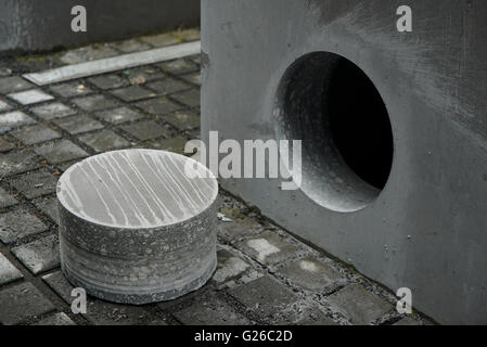 Berlin, Germany. 25th May, 2015. A sample of the core lays next to a stele of the Holocaust Memorial in Berlin, - Stock Photo