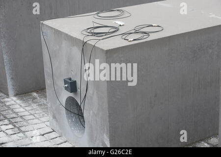 Berlin, Germany. 25th May, 2015. A hole can be seen in a stele of the Holocaust Memorial in Berlin, Germany, 25 - Stock Photo