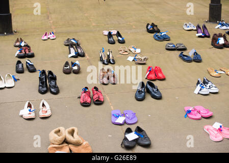 London, UK, 25th May, 2016, Millions Missing protest with empty shoes representing ME suffers unable to partake - Stock Photo