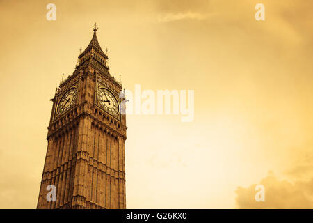 Big Ben in London, UK, with copy space - Stock Photo