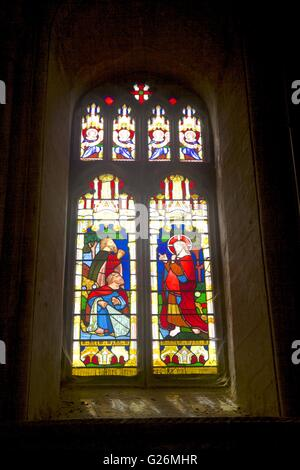 Stained glass window in Peterborough Cathedral, Peterborough, Cambridgeshire, England - Stock Photo