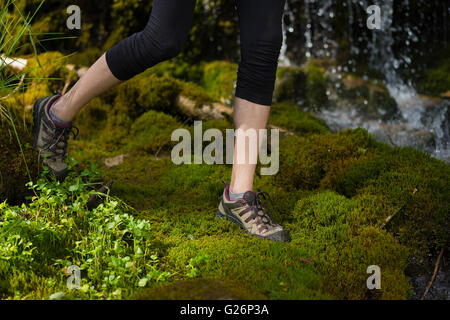 in the forest skinny legs of a woman stepping in soft moss - Stock Photo
