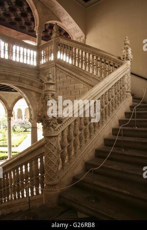 Toledo, Spain -   September 30, 2007: Gothic atrium of Monasterio San Juan de los Reyes or Monastery of Saint John - Stock Photo