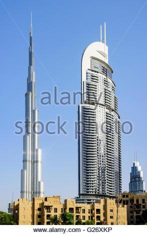 Burj Al Arab & The Adress Hotel, Downtown Dubai, Dubai, United Arab Emirates - Stock Photo