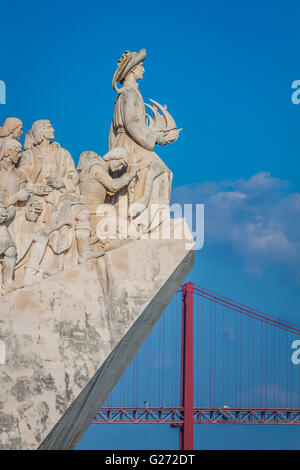 Monument to the Discoveries of New world in Lisboa, Portugal - Stock Photo