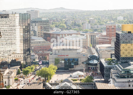 Aerial photograph of Birmingham City Centre, England. Symphony Hall and the ICC in Centenary Square. - Stock Photo