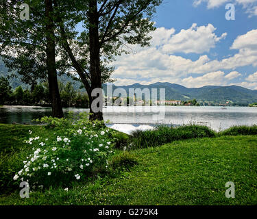 DE - BAVARIA: Rottach-Egern on Lake Tegernsee seen from Courths-Mahler-Park - Stock Photo