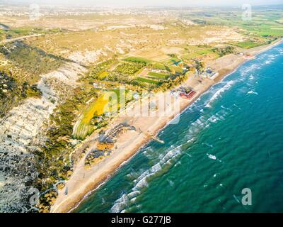 Aerial view of the arcaeological site of the ancient city of Kourio which is located in the district of Limassol, - Stock Photo