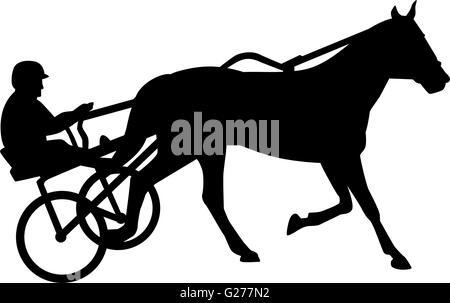 Harness racing silhouette - Stock Photo