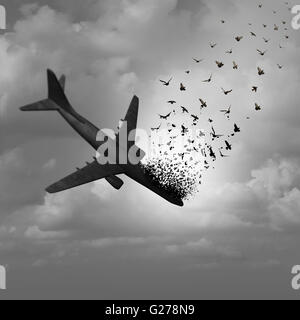 Plane Disappearance and missing flight concept as a plunging crashing airplane falling apart in the sky and tranforming - Stock Photo