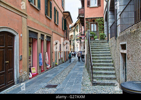 Looking along an alley in Bellagio on Lake Como Italy - Stock Photo