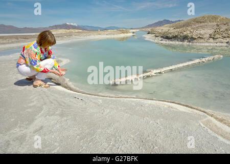 Bonneville Salt flats and mountains state of Utah. - Stock Photo
