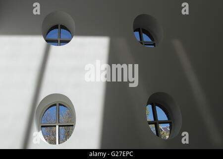 window round white interior background modern architecture wall abstract house structure space 3d empty room circle - Stock Photo