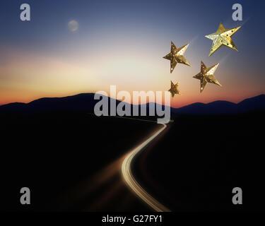 DE - BAVARIA:  Autobahn by night (Yuletide Travel Concept) - Stock Photo