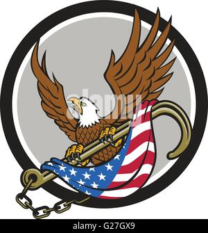 Illustration of an american bald eagle looking to the side clutching with its talon a towing j hook with chains - Stock Photo