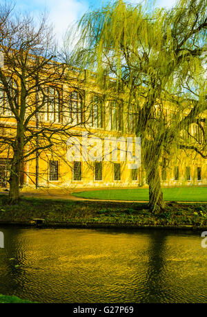 Rear facade of the Wren Library at Trinity College, Cambridge, England seen across the river Cam - Stock Photo