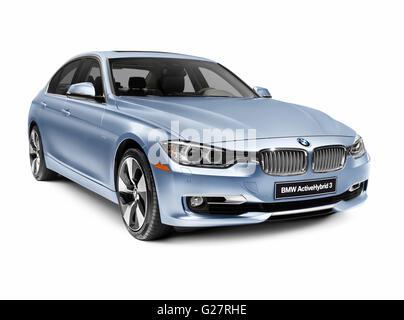 Blue 2012 BMW ActiveHybrid 3 Series, a hybrid car - Stock Photo