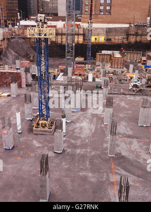 Construction site, building foundation pit, Ottawa, Ontario, Canada - Stock Photo