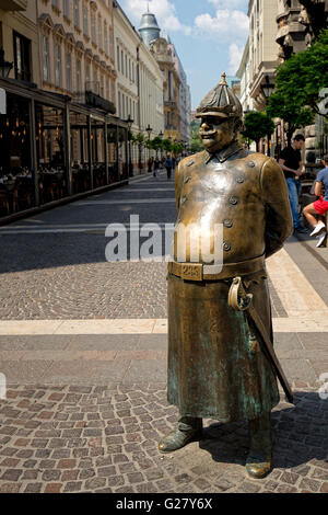 Statue of Good Soldier Svejk in Budapest, Hungary - Stock Photo