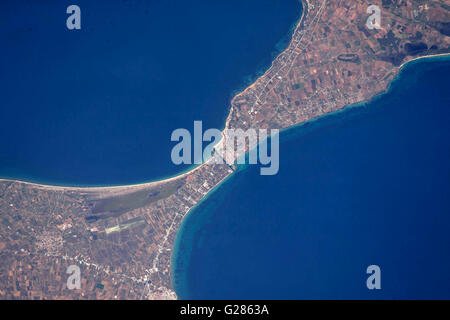 View from the International Space Station of the ancient Potidea canal in Greece May 13, 2016. For 2,000 years this - Stock Photo